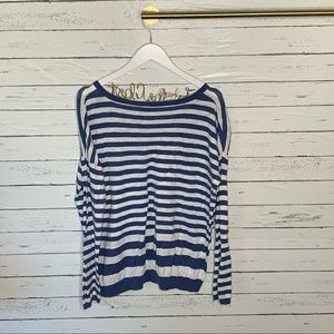 Vince Sweaters - Vince. Blue and White Striped Crewneck Sweater